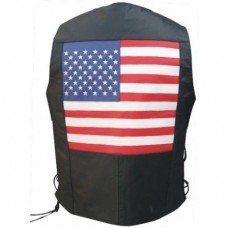 Men's Basic Vest With Side Laces And USA Flag