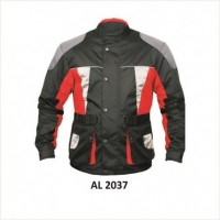 Men's Cordura Jacket in Red, Black, White, and Grey With Reflective Piping