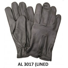 Lined Leather Driving Gloves With Zippered Back