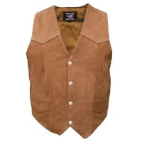 Ladies Brown Plain Vest In Buffalo Leather