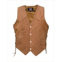 Ladies Brown Side Laced Vest In Buffalo Leather