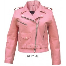 Ladies Pink Basic Motorcycle Jacket