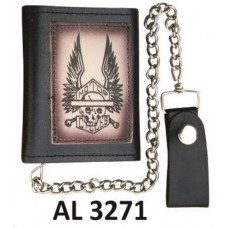 Tri-fold Chain Wallet with Skeleton & Wings Spreadout
