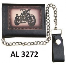 Tri-fold Chain Wallet with Motorcycle Logo