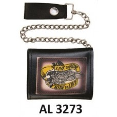 "Tri-fold Chain Wallet with ""Live to Ride/Ride to Live"""