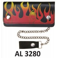 6 Inch Biker Chain Wallet with 6 pockets and Red and Yellow Flames