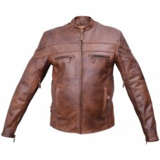 Men's Cafe Brown Vented Front & Back Touring Jacket And Zip-Out Lining
