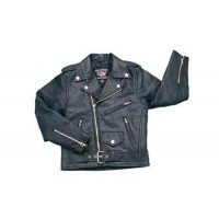 Kids Basic Motorcycle Jacket In Soft Lambskin Leather