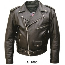 Men's Motorcycle Jacket in Split Plain Cowhide Leather