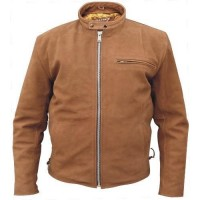 Men's Brown Scooter Jacket In Buffalo Leather