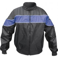 Men's Riding Jacket 100% Nylon Water Resistant Reflector Stripe (Blue/Black)