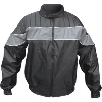 Men's Riding Jacket 100% Nylon Water Resistant Reflector Stripe (Gray/Black)