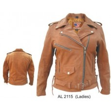 Ladies Motorcycle Jacket In Brown Buffalo Leather
