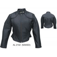 Ladies Jacket With Braided Trim In Drum Dyed Naked Cowhide Leather