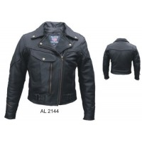Ladies Vented Jacket In Naked Leather