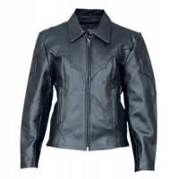 Ladies Western Style Riding Jacket In Cowhide Leather