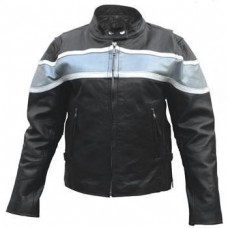 Ladies Silver Two Tone Motorcycle Jacket In Buffalo Leather