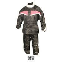 Ladies Pink/Black Rain Suit, 3/4 Length Jacket With Matching Trouser