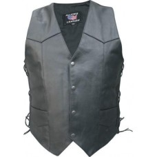 Men's Basic Side Laced Vest In Buffalo Leather