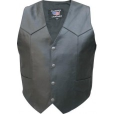 Men's Basic Plain Vest In Buffalo Leather