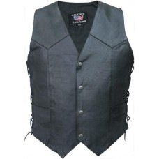 Men's Side Laced Vest In Split Cowhide Leather