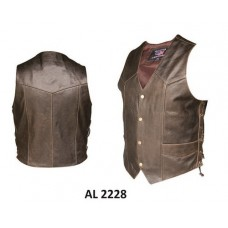 Men's Retro Brown Laced Vest
