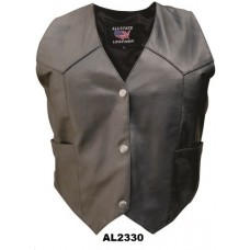 Ladies Vest In Split Cowhide Leather