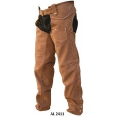 Brown Braided Lined Chaps In Buffalo Leather