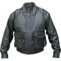 Men's Cowhide Black Bomber Jacket