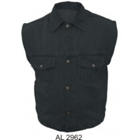 Men's Black Denim Vest With Snap Down Collar