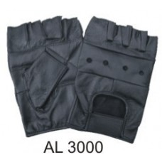 Leather Fingerless Gloves With A Padded Palm, And Velcro Strap