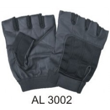 Leather Fingerless Gloves With Black Spandex And Velcro Strap