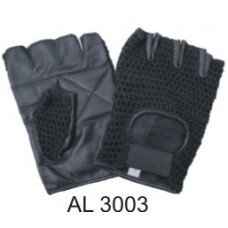 Leather Fingerless Gloves With A Padded Palm, Black Mesh On Thumb And Front Of Glove With A Velcro Strap