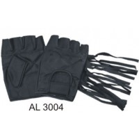 Leather Fingerless Gloves With Fringe And Velcro Strap