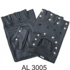 Studded Leather Fingerless Gloves With A Velcro Strap