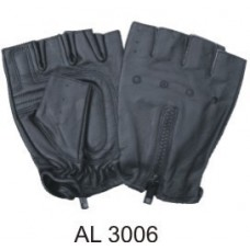 Leather Fingerless Gloves With A Zipper Back