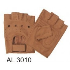Brown Premium Buffalo Fingerless Gloves With Vented Back And Velcro Strap
