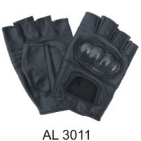Leather Fingerless Gloves With Kevlar Knuckles With A Velcro Strap
