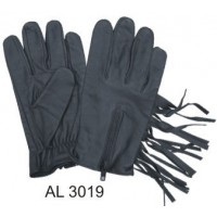Leather Full Fingered Unlined Gloves With Fringe And A Zippered Back