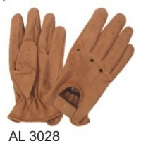 Brown Driving Gloves In Buffalo Leather With Vented Back And Velcro Strap