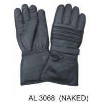 Padded Riding Gloves With A Rain Cover Inside Zipper Pocket & Velcro Strap Naked Leather