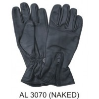 Lined Naked Leather Riding Gloves With Zippered Cuff
