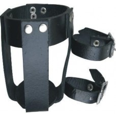Leather Can Holder With Two Buckles For Adjustments