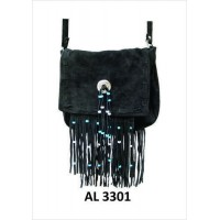 Ladies Black Suede Leather Handbag