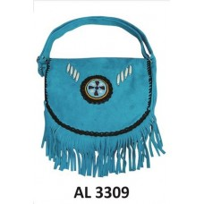 Ladies Western Style Handbag In Blue Suede Leather With Beads