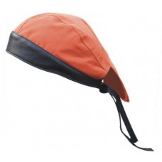Orange Denim Skull Cap with Black Leather