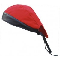 Red Denim Skull Cap with Black Leather