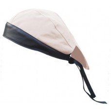 Cream Denim Skull Cap with Black Leather