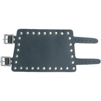 Large Leather Wristband with studs & two buckle straps