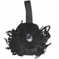 Leather Clam Shell With Velcro Closure, Fringe, Conches, And A Belt Loop